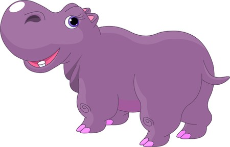herbivore: Illustration of funny fat cartoon Hippo  Illustration