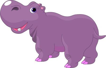 hipopotamo caricatura: Ilustraci�n de dibujos animados de grasa funny Hippo