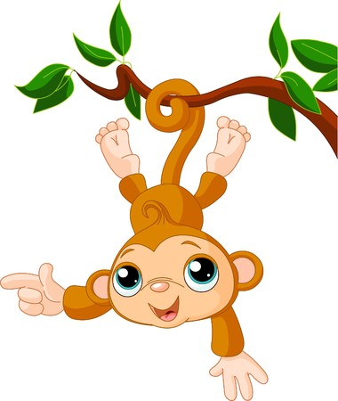 Cute baby monkey on a tree showing (presenting)