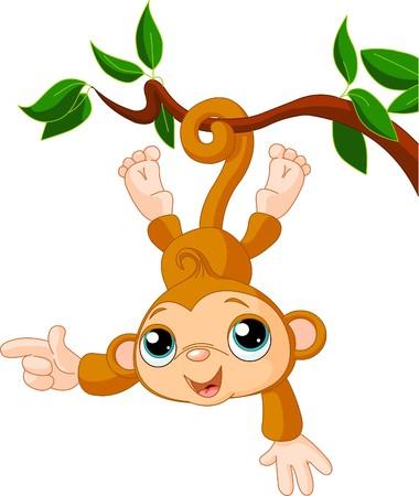 mono caricatura: Lindo beb� mono en un �rbol que muestra (presentaci�n)