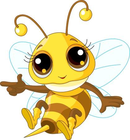 miel et abeilles: Illustration d'une abeille mignonne bienvenus Affichage et Flying