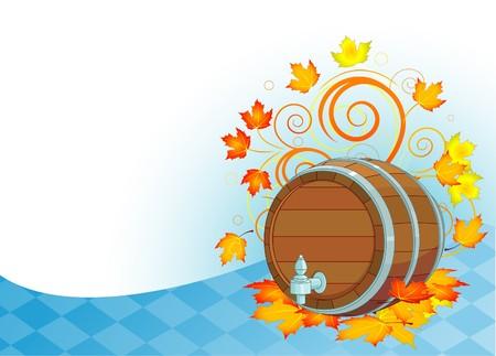 beer card: Decorative Oktoberfest design with beer keg