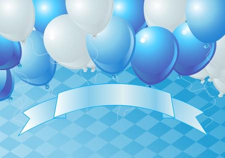 blau weiss: Oktoberfest Celebration Balloons Background with Copy space.