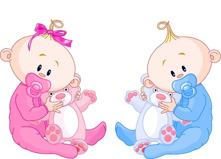 Twin Baby Boy And Girl With Pacifiers and Toys 向量圖像