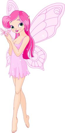 Illustration of a cute pink spring fairy with butterfly Ilustração
