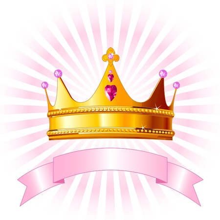 princess crown: Beautiful background with crown for true princess Illustration