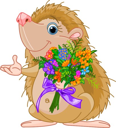 hand holding flower: Cute little Hedgehog  giving a bouquet and pointing