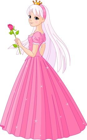 Illustration of beautiful  princess with rose Stock Illustratie