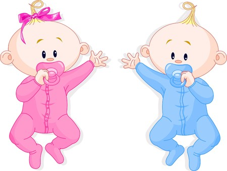 baby illustration: Two baby twins lie and keep the pacifiers Illustration