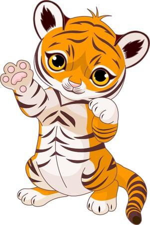 cubs: Illustration of  cute playful tiger cub  waving hello