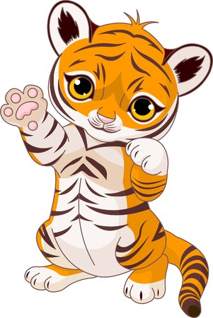 tigre cachorro: Ilustraci�n de un cachorro de tigre juguet�n cute agitando Hola