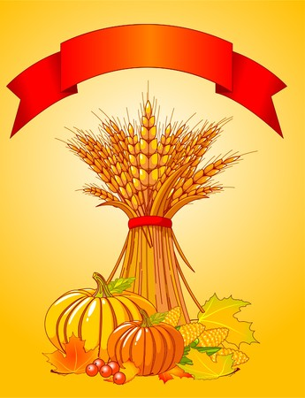 rye bread: Seasonal background with plump pumpkins, wheat, corn and autumn leaves Illustration