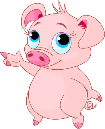 cute pig: Cute baby piglet pointing (showing, presenting)