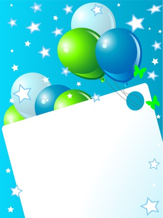 plenty: Blue birthday card with balloons, hat and plenty of copy space.