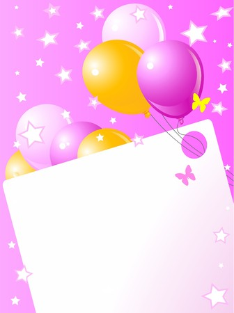Pink birthday card with balloons, hat and plenty of copy space. Vector