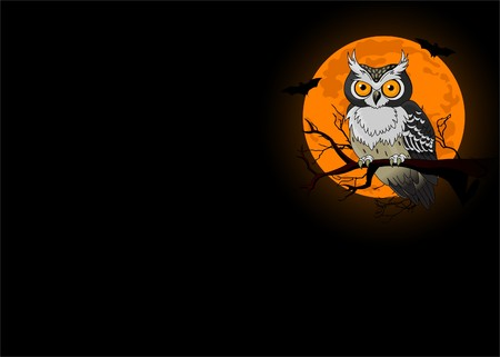 Owl sitting upon a tree branch with a large moon rising in the background Illustration