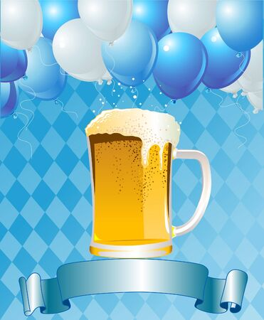 beer mugs: Vertical  Oktoberfest Celebration Background with Copy space.