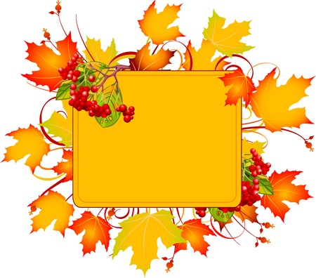 Fall colors adorn background, perfect for greeting cards or retail signage.  Vector illustration perfect for Thanksgiving and Halloween Stock Vector - 7822787