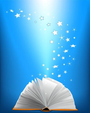 copertina libro antico: Un libro magico aperto e le stelle splendenti