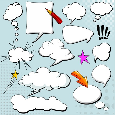 Comics style speech bubbles  balloons on yellow background Vector