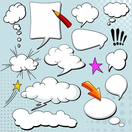 Strips stijl tekst ballonnen  ballonnen op gele achtergrond Stock Illustratie