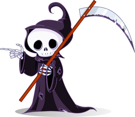 scythe: Cute dibujos animados tan reaper con guada�a apuntando. Aislados en blanco