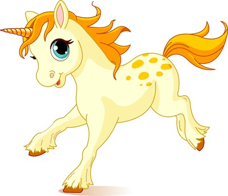cute: Illustration of cute running beautiful cute unicorn Illustration