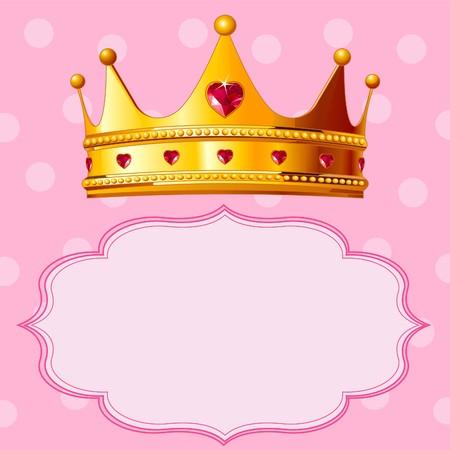 Mooie glanzende true princess crown op roze achtergrond Stock Illustratie