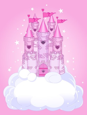 Illustration of a Fairy Tale princess castle in the sky Vector