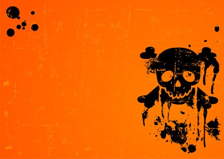 Halloween Skull on grange radial background with place for copytext
