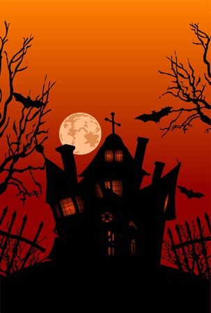 halloween background: Haunted house on hill with spooky trees, moon and bats  Illustration