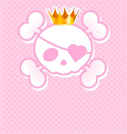heart with crown: Very cute pink Skull place card with place for copytext Illustration