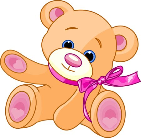 A rough, painterly childs teddy bear showing