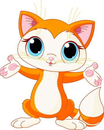 cute clipart: Illustration of cute kitten raising his hands
