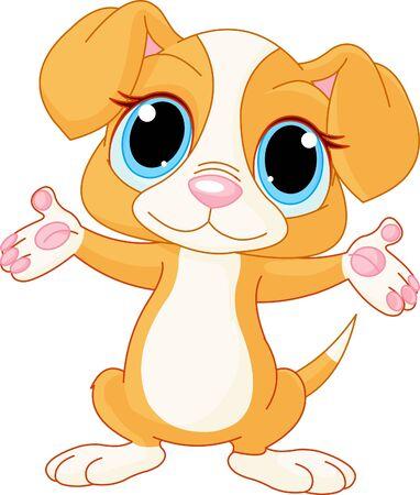 cartoon puppy: Illustration of cute puppy raising his hands  Illustration