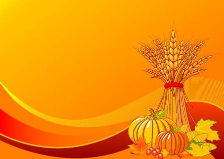 fall harvest: Seasonal background with plump pumpkins, wheat, corn and autumn leaves Illustration