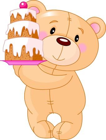 誕生日ケーキをもたらすかわいいテディベアのイラスト