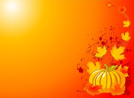 Autumn Pumpkin and leaves -  illustrated background. Vector