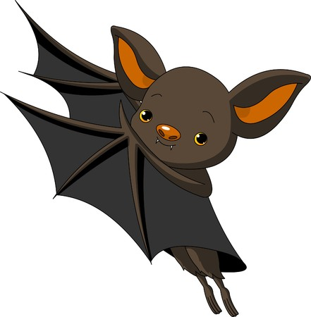 at bat: Cute Cartoon Halloween bat presenting with his wings;