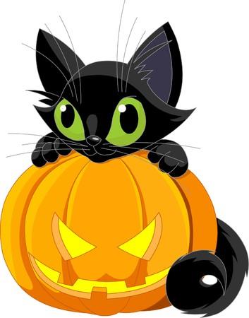 Een schattig zwarte kat op een Halloween pompoen. Stock Illustratie