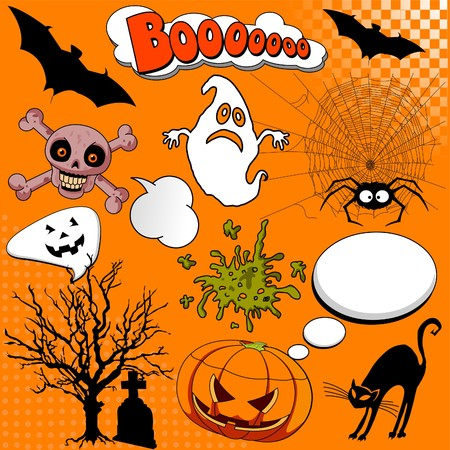 Illustration of Halloween Comic elements for your design