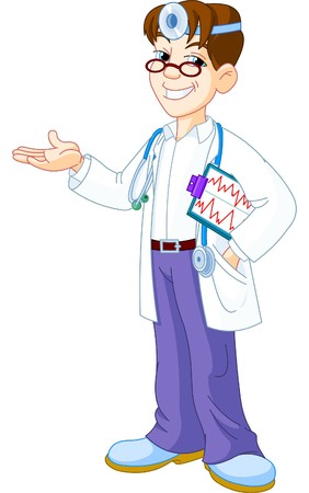 Young  smiling Doctor with clipboard showing Stock Vector - 7879536