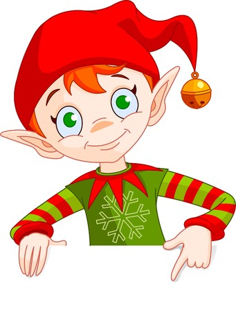 elves: Clipart Illustration of a Christmas Elf Holding And Pointing Down To A Blank White Sign