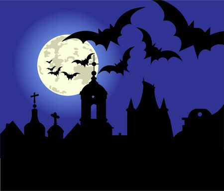 An illustration of a Halloween night in the town. Vector
