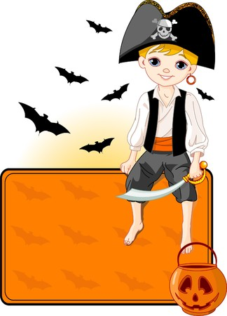 stage costume: Illustration for Halloween with a cute pirate sitting on place card. All objects are separate groups