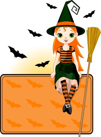 broom: Illustration for Halloween with a cute witch  sitting on place card. All objects are separate groups