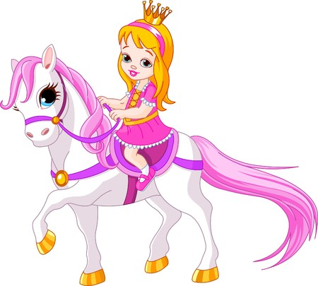 Cute little Princess, die auf einem Pferd Reiten