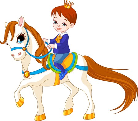 pony tail: Cute little prince riding on a horse