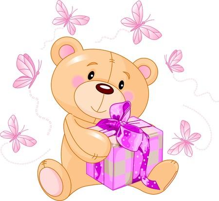 Leuke teddybeer zittend met roze geschenkdoos Stock Illustratie