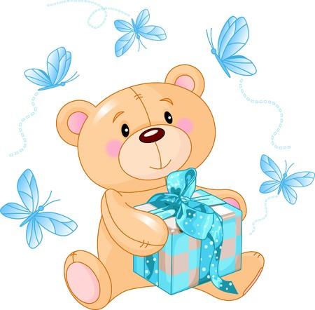 osito caricatura: Cute oso de peluche sentado con caja de regalo azul  Vectores